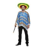 Henbrandt VOLWASSENEN HEREN Mexicaanse / Spaanse Gestreepte Gekleurde Poncho   Poncho met strepen   Mexico / Spaans Feest   Carnavalskleding   Verkleedkleding   Man   Maat: One Size Fitts all.
