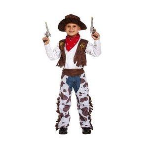 Henbrandt KINDEREN JONGENS 4-Delig Luxe Wild Wild West Coyboy Kostuum voor Kinderen | Coyboy Sheriff Kleding | Carnavalskleding | Verkleedkleding | Jongen | Maat: Medium 7-9 Jaar