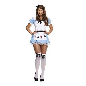 Henbrandt VOLWASSENEN DAMES Alice in Wonderland Kostuum | Schattige Alice kostuum met Jurk met Schort en Haarband | Carnavalskleding | Verkleedkleding | Vrouw | Maat: 40-42