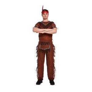 Henbrandt VOLWASSENEN HEREN 4-Delig Indianen pak | Indianenpak, bestaande uit: Broek, Shirt, Riem, Hoofdband met veer | Carnavalskleding | Verkleedkleding | Man | Maat: ONE SIZE FITTS ALL