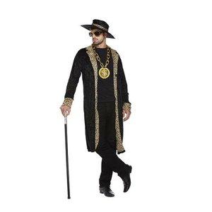 Henbrandt VOLWASSENEN HEREN Pooier Kostuum, bestaande uit: Lange Jas en Hoed | Pimp Kostuum | 1970 Big Daddy Gangster Kostuum | Kleur: Zwart|Carnavalskleding | Verkleedkleding | Feest Kostuum  | Man | Maat: ONE SIZE FITTS ALL