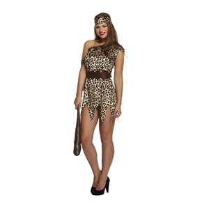 Henbrandt VOLWASSENEN VROUW 4-Delig Cave Woman / Oervrouw Kostuum, bestaande uit: Jurk, Riem, Armband, Hoofdband | Dames Cave Kostuum | Oertijd Vrouw kostuum | Kleur: Bruin met Print | Carnavalskleding | Verkleedkleding | Feest Kostuum  | Dames | Maat: ONE SIZE FIT