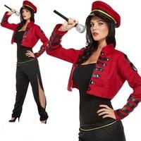 Henbrandt VOLWASSENEN VROUW 4-Delig Pop Star Kostuum, bestaande uit: Jurk, Jas, Riem, Hoed | Dames Popster Kostuum | Bekende Rockstar / Zangeres Vrouw kostuum | Kleur: Rood / Zwart | Carnavalskleding | Verkleedkleding | Feest Kostuum  | Dames | Maat: ONE SIZE FITTS