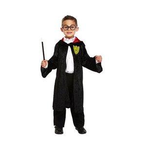 Henbrandt KINDEREN JONGENS Harry Poter / Tovenaars gewaad kostuum  | Kinder Tovernaars Cape | Harry Poter Tover Gewaad | Kleur: Zwart | Carnavalskleding | Verkleedkleding | Feest Kostuum  | Jongen | Maat: S – 4-6 Jaar
