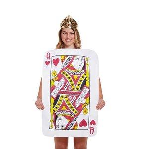 Henbrandt VOLWASSENEN MAN / VROUW Speelkaart Queen of Hearts Kostuum | Speelkaart Bodysuit | Bodysuit Hartenvrouw Alice in wonderland | Kleur: Rood / Wit | Carnavalskleding | Verkleedkleding | Feest Kostuum | Heren / Dames / Unisex | Maat: ONE SIZE FITTS ALL