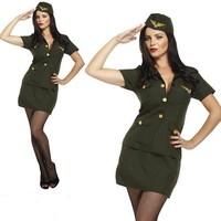 Henbrandt VOLWASSENEN VROUW Army Militair Uniform Kostuum, bestaande uit: Rok, Jas en Hoed | Army Lady | Leger / Stewardess vrouw | Kleur: Zwart | Carnavalskleding | Verkleedkleding | Feest Kostuum | Dames | Maat: 34 - 36