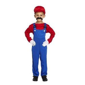 Henbrandt KINDEREN JONGENS 3-Delig Super Mario Loodgieters Kostuum, bestaande uit: Overal, Shirt en Hoed | Super Mario | Kleur: Rood / Blauw | Carnavalskleding | Verkleedkleding | Feest Kostuum | Kinderen | Maat: M 7-9 Jaar