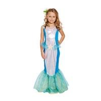 Henbrandt KINDEREN MEISJES  Glinsterende Zeemeermin Jurk met Visstaart | Mermaid Jurk/Kostuum met Vin | Carnavalskleding | Verkleedkleding | Meisjes | Maat: L 10-12 Jaar