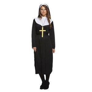 Henbrandt VOLWASSENEN VROUW 3-delige Sexy Nonnen kostuum, bestaande uit Toga, hoofdkapje en riem. | Nun kostuum | Stoute Non | Kleur: Zwart / Wit | Carnavalskleding | Verkleedkleding | Dames | Maat: 36 tm 56 ONE SIZE FITTS ALL
