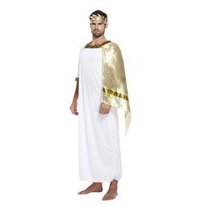 Henbrandt VOLWASSENEN HEREN 2-Delig Romeinse Caesar God Kostuum, bestaande uit: toga met sjerp en lauwerkrans, | Roman God Kostuum | Romeinse edelman | Carnavalskleding | Verkleedkleding | Man | Maat: ONE SIZE FITTS ALL