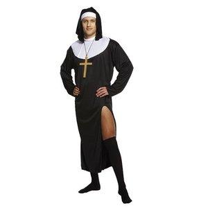 Henbrandt VOLWASSENEN HEREN 2-Delig FOUT Nonnen Kostuum, bestaande uit: Toga en Hoofdkapje | Nun Kostuum | Vrijgezellen feest | Carnavalskleding | Verkleedkleding | Man | Maat: ONE SIZE FITTS ALL