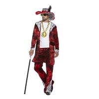 Henbrandt VOLWASSENEN HEREN 3-Delig Foute Pimp Pooier Kostuum, bestaande uit: Hoed, Vestje en Broek   Pimp Kostuum   BIG DADDY RED   Carnavalskleding   Verkleedkleding   Man   Maat: ONE SIZE FITTS ALL