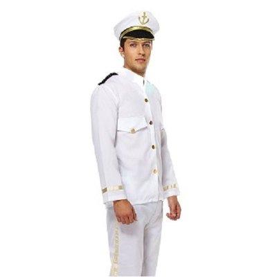 Henbrandt VOLWASSENEN HEREN 3-Delig Net Kapiteins Kostuum, bestaande uit: Jas, Broek en Kapiteins Pet   Marine Captain   Carnavalskleding   Verkleedkleding   Man   Maat: ONE SIZE FITTS ALL