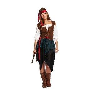 Henbrandt VOLWASSENEN VROUW 5-delig Pirates off The Caribbean kostuum, bestaande uit Hoofdband, Shirt, Overhemd, Riem en Rok | Piraat | Kleur: rood, wit en bruin | Carnavalskleding | Verkleedkleding | Dames | Maat: ONE SIZE FITTS ALL