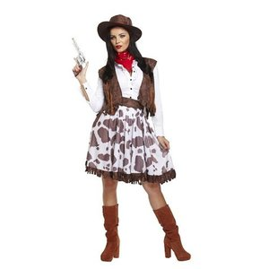Henbrandt VOLWASSENEN VROUW 5-delig Cowgirl Kostuum, Bestaande uit: Hoed, Mond/nek doek, Overhemd, Riem en Rok | Wild West Cowboy Vrouwen Kleding | Kleur: Rood / Wit / Bruin | Carnavalskleding | Verkleedkleding | Dames | Maat: ONE SIZE FITTS ALL