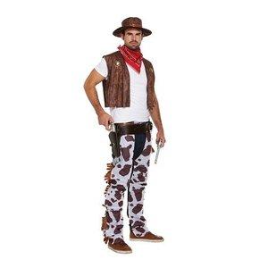 Henbrandt VOLWASSENEN HEREN 4-delig Cowboy Kostuum, Bestaande uit Hoed, Mond/nek doek, Hesje en Riem | Wild West Cowboy | Kleur: Rood / Wit / Bruin | Carnavalskleding | Verkleedkleding | Mannen | Maat: ONE SIZE FITTS ALL