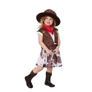 Henbrandt KINDEREN MEISJES 5-Delig Cowgirl kostuum voor kinderen van 3 jaar | Bestaand uit: Overhemd, Cowgirl Hoed, Riem, Mond/ nek doek en Rokje | Carnavalskleding | Verkleedkleding / Feest Kostuum Coyboy Cowgirl | Meisjes | Maat: ONE SIZE van 3 jaar