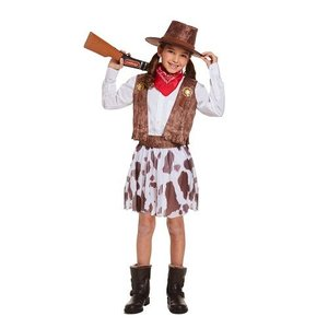 Henbrandt KINDEREN MEISJES 5-Delig Cowgirl kostuum, bestaand uit: Overhemd, Cowgirl Hoed, Riem, Mond/ nek doek en Rokje | Carnavalskleding | Verkleedkleding / Feest Kostuum Cowgirl | Meisjes | Maat: Small 4-6 jaar