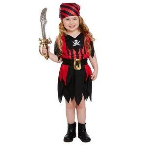 Henbrandt KINDEREN PEUTERS  3-Delig stoer Piraten jurkje voor Meisjes van 3 jaar| Bestaande uit: een Piraten Jurkje met riem en Piraten Bandana | Kleur: Rood en Zwart | Carnavalskleding | Verkleedkleding / Feest Kostuum Piraat | Meisjes | Maat: ONE SIZE van 3 jaar