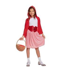 Henbrandt KINDEREN MEISJES 4-delig Schattig Roodkapje Kostuum, bestaande uit: Jurkje, Topje, Riem en Cape | Rood Kapje Kostuum | Kleur: Wit & Rood |Carnavalskleding | Verkleedkleding | Feest Kostuum| Meisje |Maat:  Medium - Leeftijd: 7-9 jaar