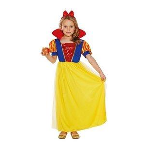 Henbrandt KINDEREN MEISJES  2-Delig schattig Sneeuwwitje Jurk | Bestaande uit: een Sneeuwwitje jurkje met een Hoge kraag en Rode Hoofdband | Kleur : Rood / Blauw en Geel | Carnavalskleding | Verkleedkleding / Feest Kostuum Sneeuwwitje | Maat: Medium 4-6 jaar