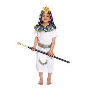Henbrandt KINDEREN JONGENS 4-Delig Stoer FARAO Kostuum | Bestaande uit: Een Wit\Blauw Kostuum Jasje ,Riem, Kraag en Farao hoofddoek| Kleur : Blauw/Wit en Goud | Carnavalskleding | Verkleedkleding / Feest Kostuum PHARAOH | Jongens | Maat: Medium: 7-9 Jaar
