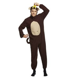 Henbrandt VOLWASSENEN UNISEX HEREN / DAMES Grappige Apen Kostuum, bestaande uit: Aap pak met staart en een Gele banaan op zijn hoofd | Carnavalskleding | Verkleedkleding / Apen Feest Kostuum | Vrijgezellenfeest | Man & Vrouw | ONZE SIZE FITTS ALL