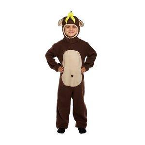 Henbrandt KINDEREN Jongens / Meisjes Grappige Apen Kostuum, bestaande uit: Aap pak met staart en een Gele banaan op zijn hoofd | Carnavalskleding | Verkleedkleding / Apen Feest Kostuum | kinderen | Maat: Medium : 7-9 jaar