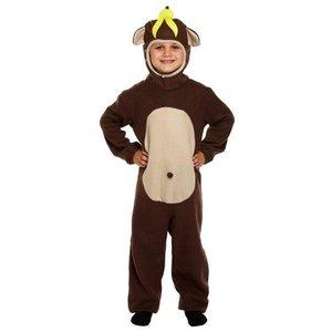 Henbrandt KINDEREN Jongens / meisjes Grappige Apen Kostuum, bestaande uit: Aap pak met staart en een Gele banaan op zijn hoofd | Carnavalskleding | Verkleedkleding / Apen Feest Kostuum | kinderen | Maat: Small : 4-6 Jaar