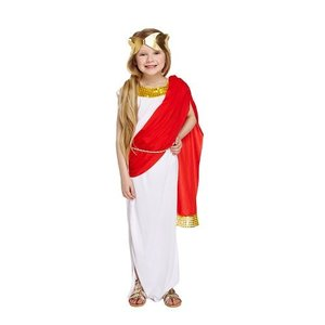 Henbrandt KINDEREN MEISJES schitterend 3-Delig Romeins Godin kostuum voor kinderen van 4-6 jaar, bestaande uit: Jurk met Rode Sjerp\Riem en Gouden hoofd krans | Carnavalskleding | Verkleedkleding / Romeins Feest Kostuum | Meisjes | Maat: Medium : 7-9 jaar