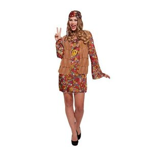 Henbrandt VOLWASSENEN VROUW 3-delig Groovy Hippie Jurkje bestaande uit: Bandana/Ketting en Jurk met Jasje er aan vast | Flower Power Hippie | Carnavalskleding | Verkleedkleding | Vrijgezellenfeest | Dames | Maat: ONE SIZE FITTS ALL