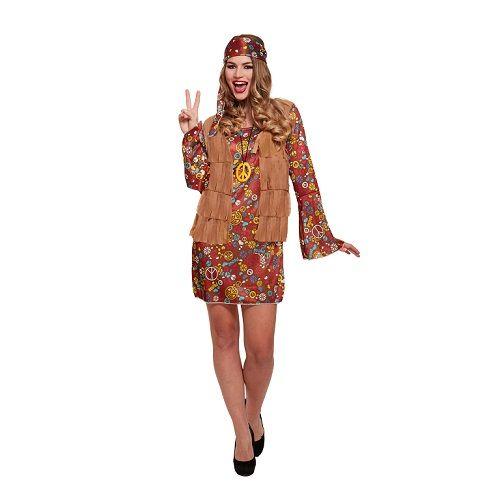 Carnavalskleding Dames Jurkje.Volwassenen Vrouw Hippie Flower Power Jurkje Verkleed Kleding