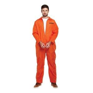Henbrandt VOLWASSENEN HEREN 2-Delig Gevangenis pak, bestaande uit: Oranje overal en Handboeien | Kleur : Oranje | Prison Break kostuum | Carnavalskleding | Verkleedkleding| Vrijgezellenfeest | Man | Maat: ONE SIZE FITTS ALL
