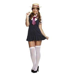 Henbrandt VOLWASSENEN VROUW  Sexy Stoute Meisjes school Uniform, bestaande uit Jurk, Shirt, Stropdas en Hoed | Sexy School Outfit | Carnavalskleding | Vrijgezellenfeest | Verkleedkleding | Dames | Maat: ONE SIZE FITTS ALL