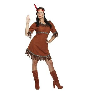Henbrandt VOLWASSENEN VROUW Indianen Jurkje, bestaande uit: Jurk en Bandana met Rode Veer | Indiaan | Kleur: Bruin | Carnavalskleding | Vrijgezellenfeest | Verkleedkleding | Dames | Maat: ONE SIZE FITTS ALL