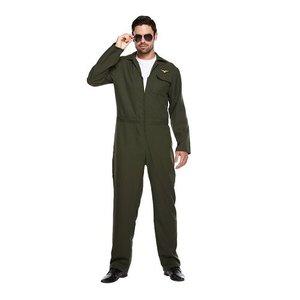 Henbrandt VOLWASSENEN HEREN F16 Piloten pak, bestaande uit:  Vliegeniers Overal | Kleur: Donker Army Groen | Top Gun PILOOT | Carnavalskleding | Verkleedkleding | vrijgezellenfeest | Man | Maat: ONE SIZE FITTS ALL