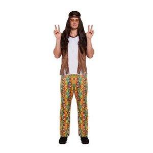 Henbrandt VOLWASSENEN HEREN 3-Delig Hippie Flower Power bestaande uit: Bruine Bandana, Shirt met Overhemd en Broek | HIPPIE Kostuum | Hippie| Carnavalskleding | Verkleedkleding | Man | Maat: ONE SIZE FITTS ALL