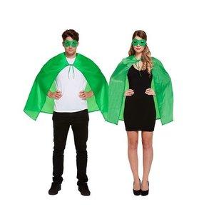 Henbrandt VOLWASSENEN UNISEX HEREN / DAMES Superhelden kostuum bestaande uit  1x Groene Masker en 1x Groene Cape | Kleur : Groen | Carnavalskleding | Verkleedkleding / Feest Kostuum Superheld | Man & Vrouw | ONZE SIZE FITTS ALL