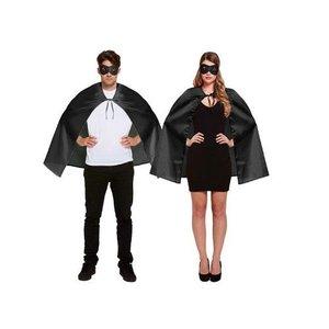 Henbrandt VOLWASSENEN UNISEX HEREN / DAMES Superhelden kostuum bestaande uit  1x Zwarte Masker en 1x Zwarte Cape | Kleur : Zwart | Carnavalskleding | Verkleedkleding / Feest Kostuum Superheld | Man & Vrouw | ONZE SIZE FITTS ALL