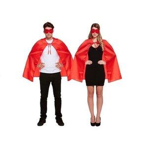Henbrandt VOLWASSENEN UNISEX HEREN / DAMES Superhelden kostuum bestaande uit 1x Rode Masker en 1x Rode Cape | Kleur : Rood | Carnavalskleding | Verkleedkleding / Feest Kostuum Superheld| Man & Vrouw | ONZE SIZE FITTS ALL