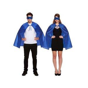 Henbrandt VOLWASSENEN UNISEX HEREN / DAMES Superhelden kostuum bestaande uit  1x Blauwe Masker en 1x Blauwe Cape | Kleur : Blauw | Carnavalskleding | Verkleedkleding / Feest Kostuum Superheld| Man & Vrouw | ONZE SIZE FITTS ALL