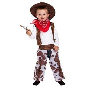 Henbrandt PEUTERS 4-delig Cowboy Kostuum, Bestaande uit Hoed, Mond/nek doek, Overhemd en Riem | Wild West Cowboy | Kleur: Rood / Wit / Bruin | Carnavalskleding | Verkleedkleding | Jongens | Maat: van 3 jaar