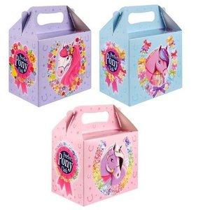 Huismerk 12 STUKS | Uitdeeldoosjes voor kinderfeestje, Model: PONY / PAARD | Traktatie Box | Menubox | Lunchbox | Meisjes | Afm. 18x14x9.5 Cm. | (2x6 =12 stuks)