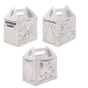 Huismerk 24 STUKS | Uitdeeldoosjes voor kinderfeestje, Model: HAPPY BIRTHDAY om ZELF in te kleuren | Traktatie Box | Menubox | Lunchbox | Jongens & Meisjes | Afm. 18x14x9.5 Cm. | (24 stuks)