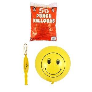Huismerk 50 STUKS | Smiley Bounce Ballonnen | Traktatie / Uitdeelcadeautjes | Jongens & Meisjes | Kleur: Geel |  (50 stuks)
