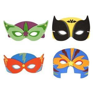 Huismerk 24 STUKS | Mix Superhelden Maskers van Foam | Traktatie / Uitdeelcadeautjes | Mix Kleuren Superhelden Feest Maskers | Jongens  (24 stuks)