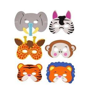 Huismerk 24 STUKS | Mix Dieren Maskers van Foam | Traktatie / Uitdeelcadeautjes | Mix soorten Dieren | Jongens & Meisjes  (24 stuks)