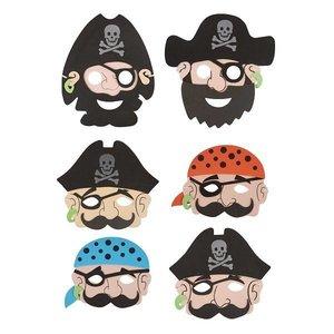 Huismerk 24 STUKS | Mix Jongens Piraten Maskers van Foam | Traktatie / Uitdeelcadeautjes | Mix soorten Piraat Maskers | Piraten Feest | Jongens  (24 stuks)