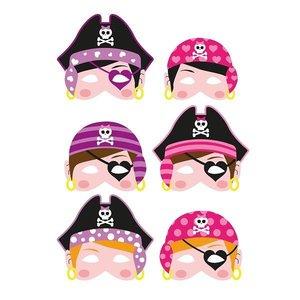 Huismerk 24 STUKS | Mix Meisjes Piraten Maskers van Foam | Traktatie / Uitdeelcadeautjes | Mix soorten Piraat Maskers | Piraten Feest | Meisjes  (24 stuks)