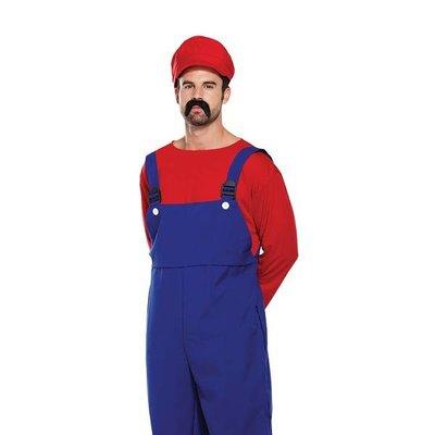 """Henbrandt VOLWASSENEN HEREN 3-Delig Super Mario Bros """"MARIO"""" kostuum   Rode Mario Tuinbroek, Shirt & Pet   Carnavalskleding   Verkleedkleding   Man   Maat: ONE SIZE FITTS ALL"""